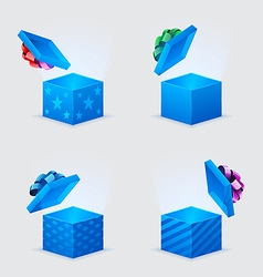 four gift boxes and flying cover with bow vector image vector image