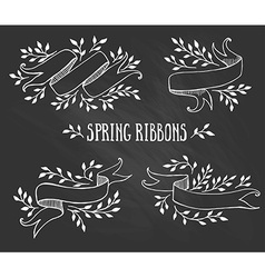 Set of chalk spring ribbons with leaves vector image vector image