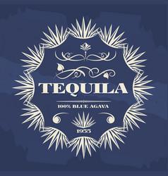 vintage tequila banner or poster design vector image vector image