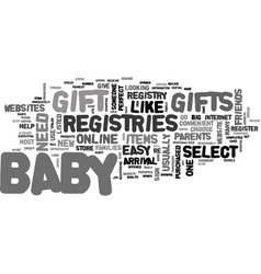 a guide to baby gift registries text word cloud vector image