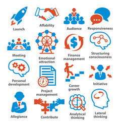 business management icons pack 01 vector image