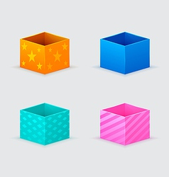 four gift boxes of orange blue turquoise pink vector image