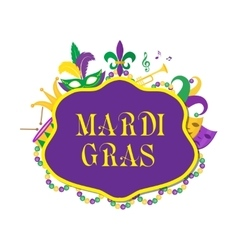 Mardi Gras poster with mask beads trumpet drum vector image