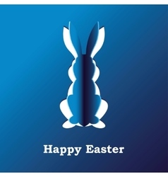 Paper rabbit on a blue background vector image vector image