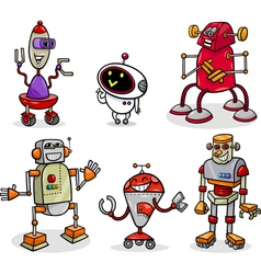 robots or droids cartoon set vector image