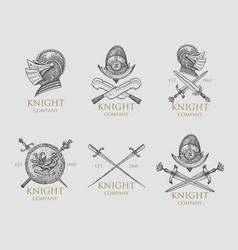 set of monochrome knights emblems badges labels vector image