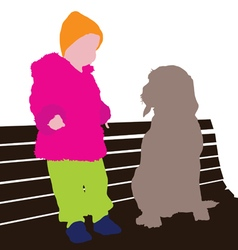 child with dog vector image vector image