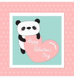 Kawaii panda baby bear happy valentines day white vector