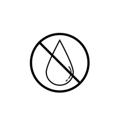 No water drop line icon prohibition sign vector