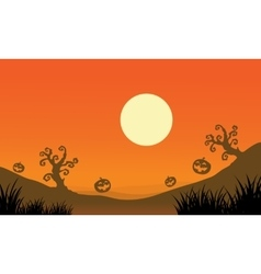 Pumpkin and full moon halloween bakcgrounds vector