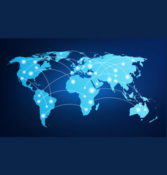 world map with global connections vector image vector image