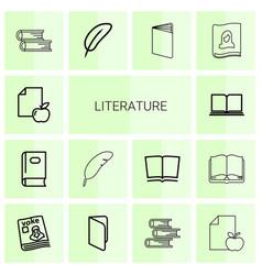 14 literature icons vector