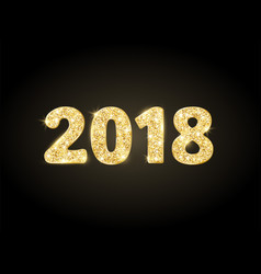 2018 glitter typography design golden sparkling vector