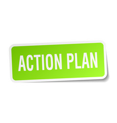 Action plan square sticker on white vector