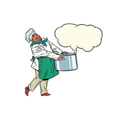 African chef holding a hot pot cloud of steam vector