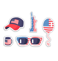 american symbolics on various accessories set vector image