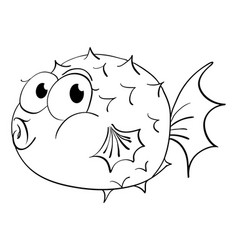 Animal outline for puffer fish vector