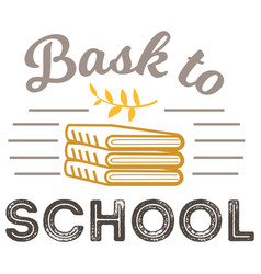 back to school logo with books sign vector image