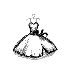 beautiful dress line vector image