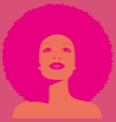 beautiful woman with afro style curly hair acid vector image