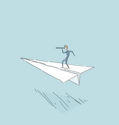 businessman flying on paper plane looking through vector image