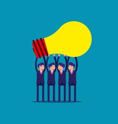 Businessman team holding idea light bulbs above vector