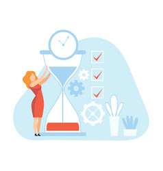 businesswoman with hourglass female office worker vector image