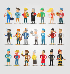 Cartoon people professions set with doctor vector