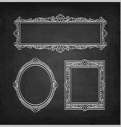 Chalk sketch of vintage frames vector