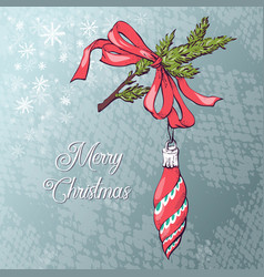 christmas ball card vector image