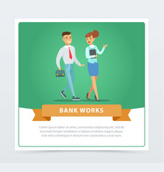 clients and manager bank works banner for vector image