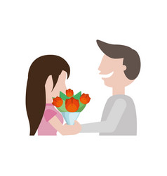 couple cute flowers romantic image vector image