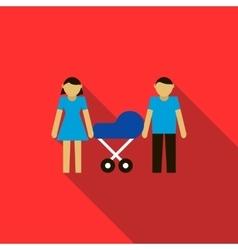 Couple with they newborn child in blue pram icon vector