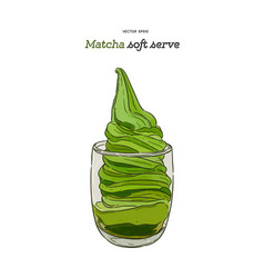 creamy green matcha icecream soft serve in glass vector image