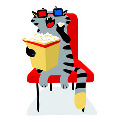 Cute funny cat in the cinema with popcorn feline vector