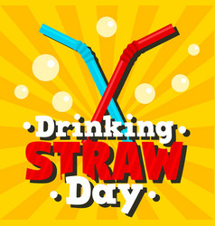 Drinking straw day concept banner flat style vector