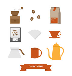 drip coffee icon set vector image