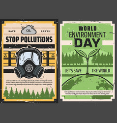 Earth with green plant toxic waste and gas mask vector
