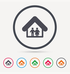 family icon father and mother in home sign vector image