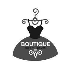 Fashion boutique creative emblem in form dress vector