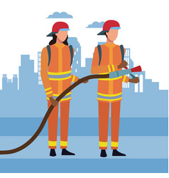 firefighters at city vector image