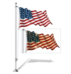 Flag pole us wwi wwii 48 stars vector