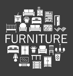 Furniture silhouetter icons sale banner set in vector