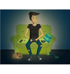 Gamer sitting at home at night and playing video vector image