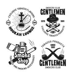 gentleman smokers club hookah lounge emblems vector image