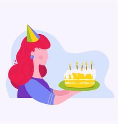 Girl holding a birthday cake vector