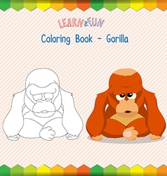 Gorilla coloring book educational game vector image
