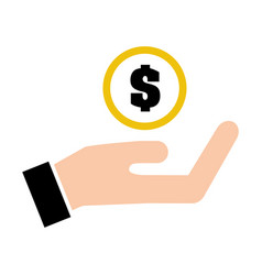 hand human with coin isolated icon vector image vector image