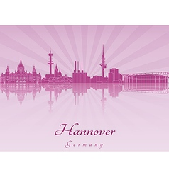 Hannover skyline in purple radiant orchid vector