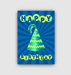 happy birthday card isolated on striped backdrop vector image